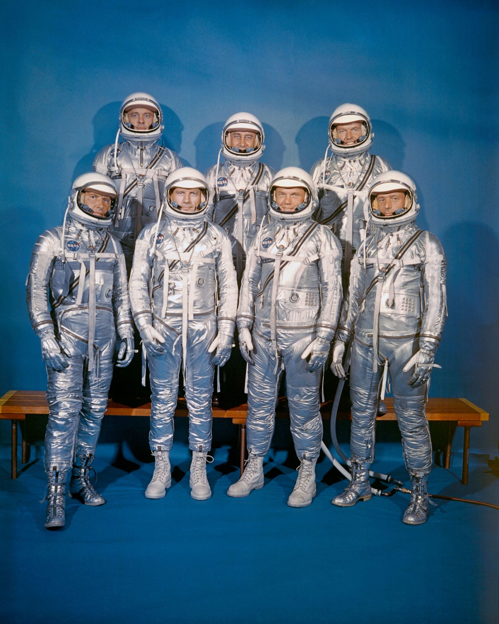 The Mercury 7 astronauts dressed in their 'Mercury suits.' Developed from high altitude U.S. Navy suits, the ...