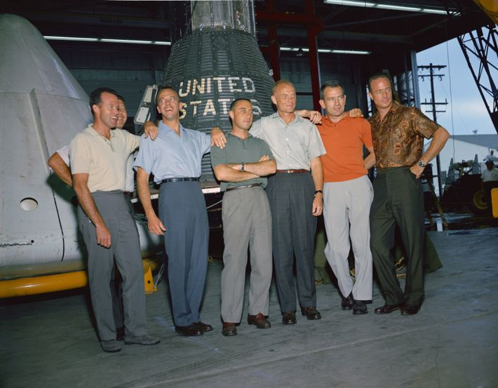 The 'Mercury 7' – the name given to the test pilots selected for the first U.S. ...