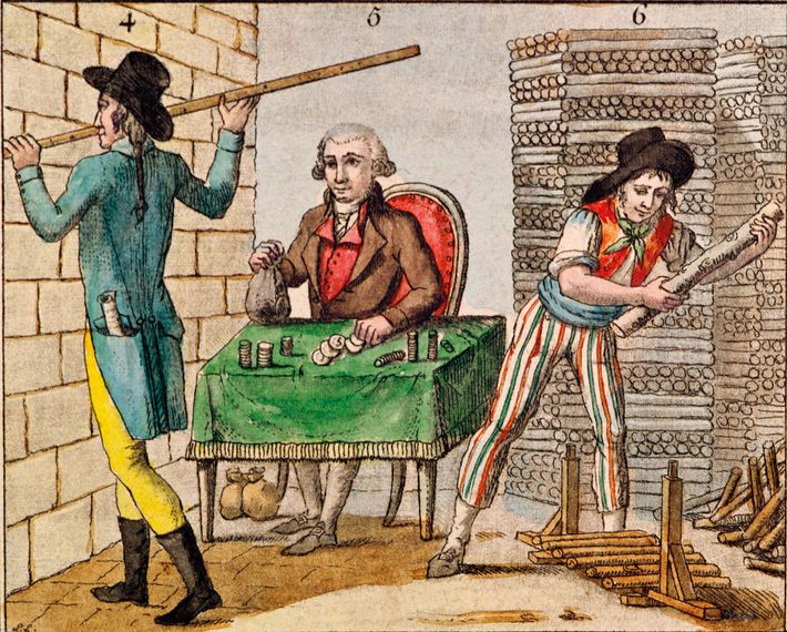 Citizens use France's new metric measures in this detail of a 1795 colour engraving. Carnavalet Museum, ...