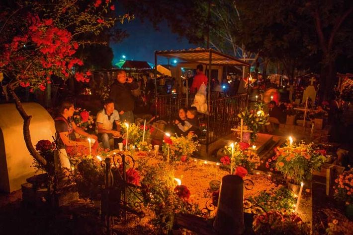Vigils held on the eve of Day of the Dead are often located in cemeteries, which ...