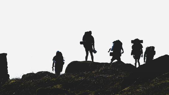 Teenagers on a DofE expedition on Ilkeley Moor.