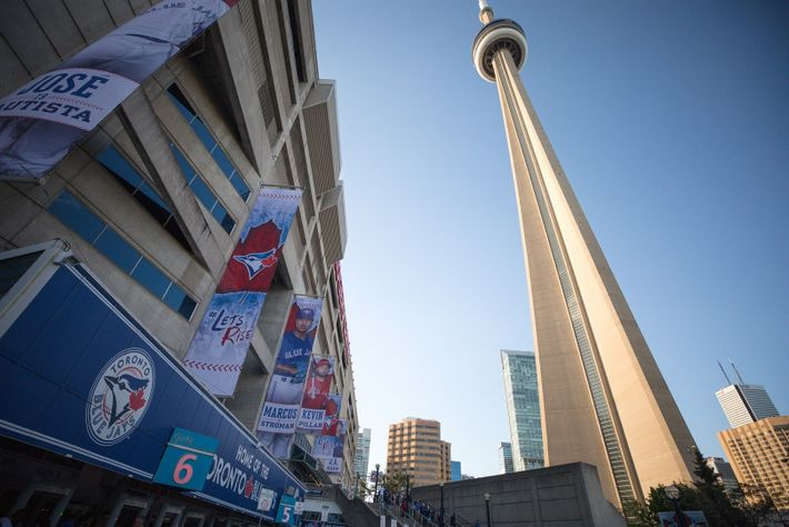 View of the Rogers Centre in downtown Toronto, a multi-purpose stadium and the home turf of ...