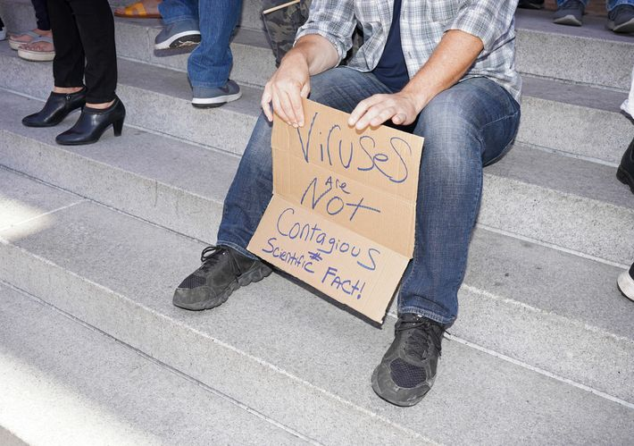 A protester at an anti-lockdown rally in Downtown Los Angeles, July 13, 2020.