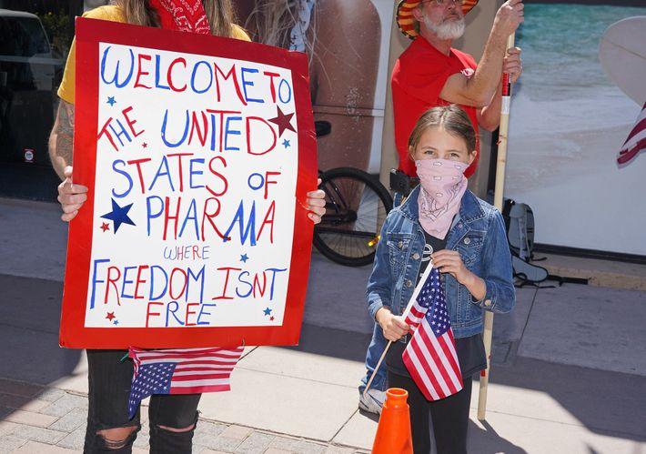 A protester at an anti-lockdown rally in Huntington Beach, California, April 17, 2020.