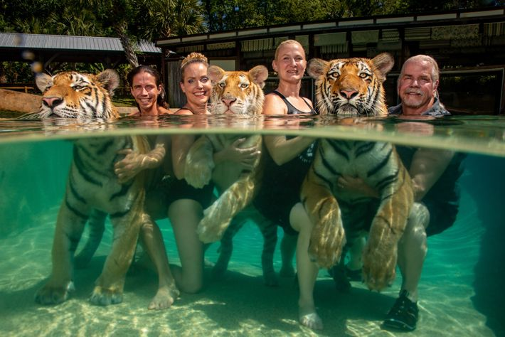 2019: 'Doc' Antle (far right) and his family and staff at Myrtle Beach Safari, where the public can ...