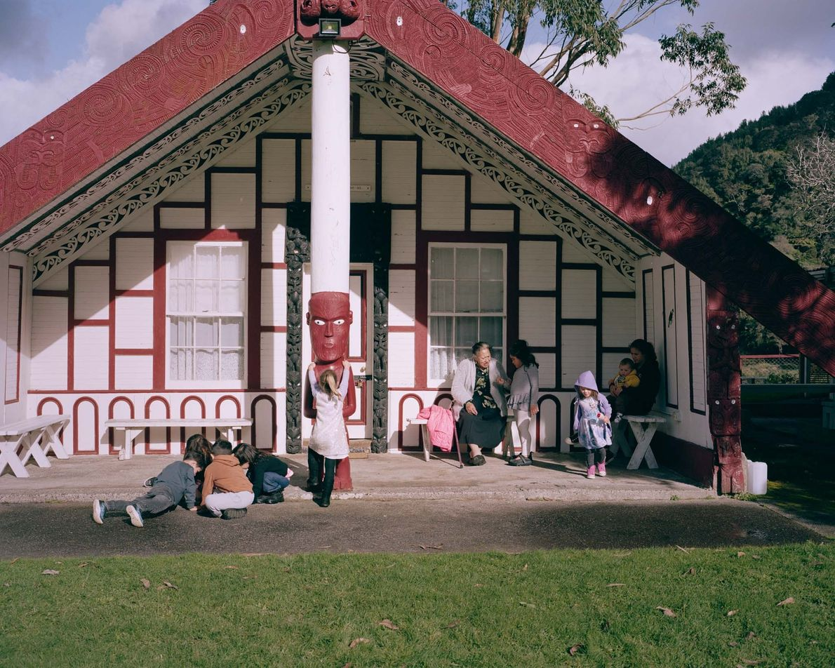 Wahi Marama Teki, now in her 80s, teaches children from the city of Whanganui at a ...