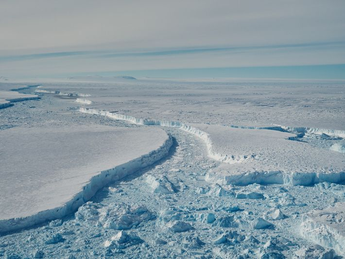 Large sections of B-46 float in front of the Pine Island ice shelf. Scientists worry that ...