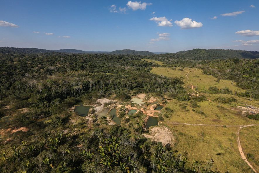 An illegal gold and diamond operation scars the land and waterways inside the Aripuanã Indigenous Territory. Indigenous lands are beset not only by illegal loggers but also by prospectors attracted by rich deposits.