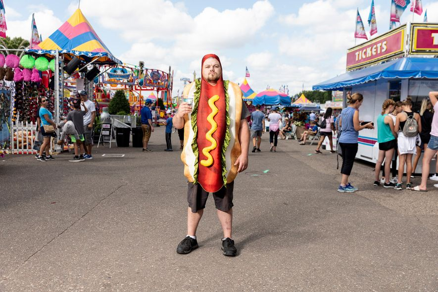 Sal Thegal gets into the spirit of the Minnesota State Fair, where new foods such as ...