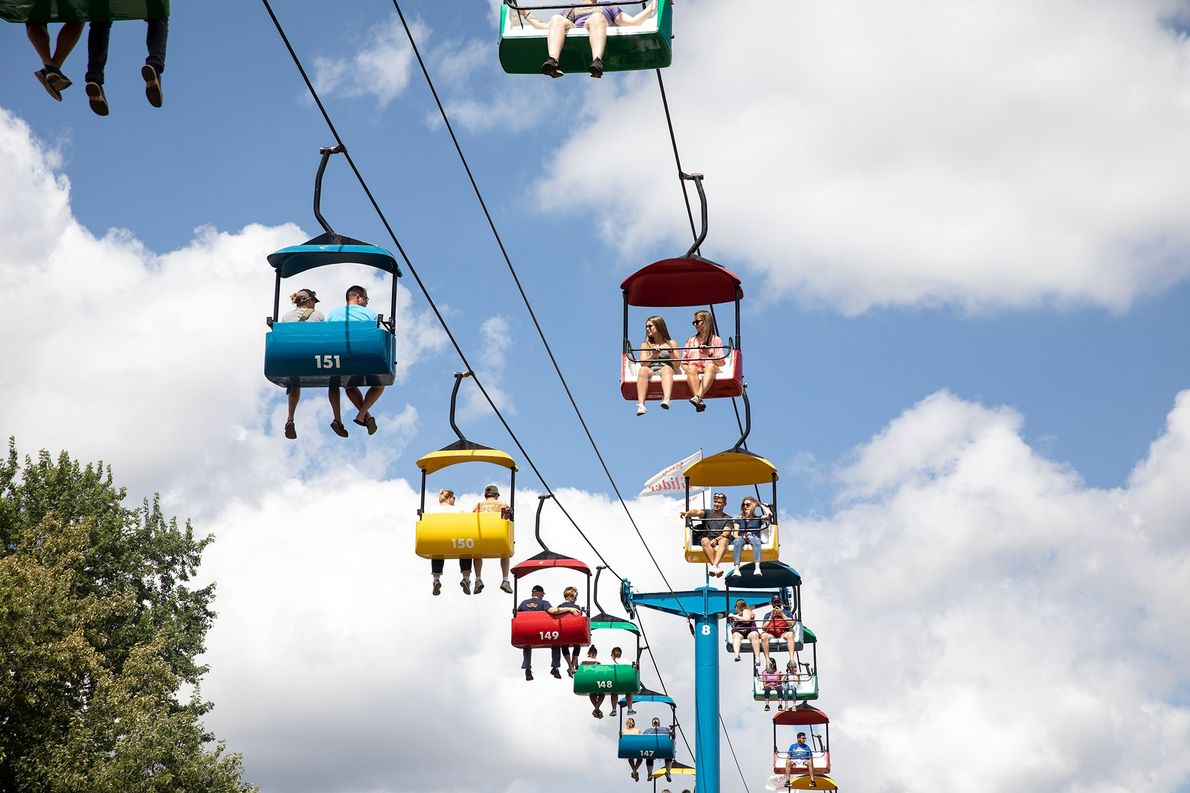 The Skyglider traverses the length of the Minnesota State Fairgrounds.