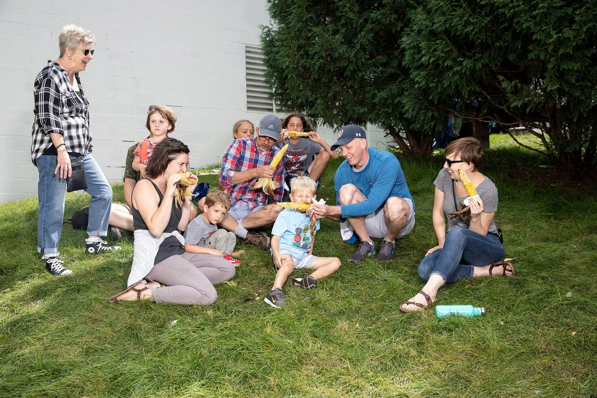 The Ronning family takes a break with roasted corn on the cob on the Minnesota State ...