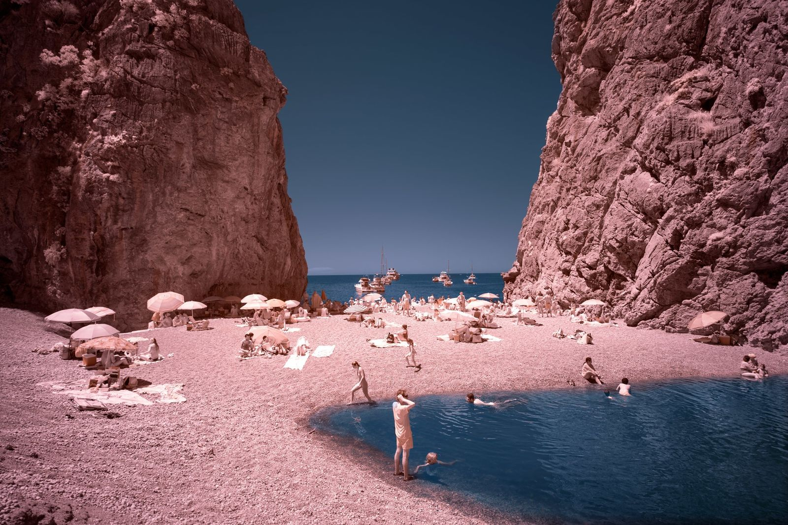 The cove of Sa Calobra is one of the few ways to access the sea from ...