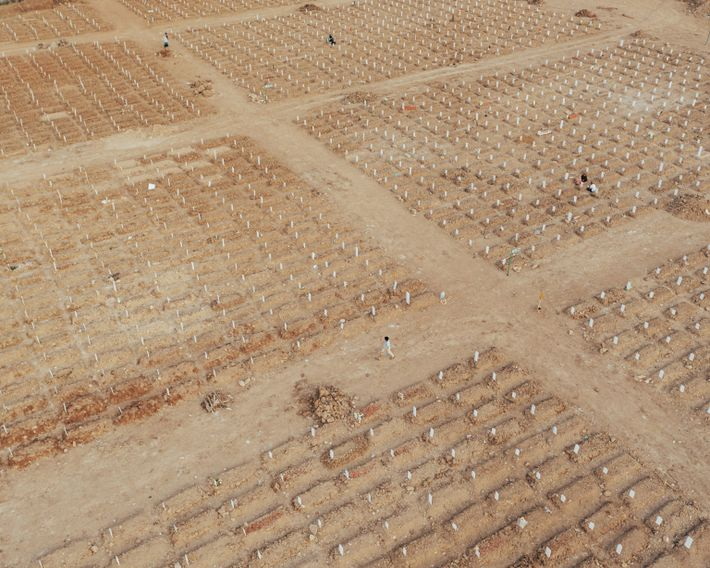 Rows of fresh graves fill the burial ground at Rorotan Public Cemetery in Cilincing, North Jakarta. ...