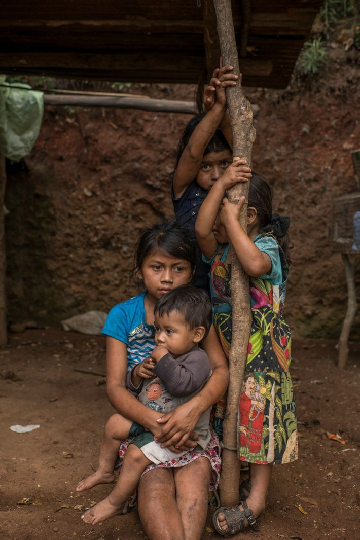 The children of Alba Luz Esquivel gather on their family's rented land. Esquivel and her husband ...