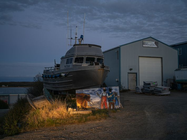 Nighttime in Naknek, where in the summer months the days are long. Near the solstice, the ...