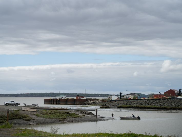 View from the small boat harbor in Dillingham, which opens into the Wood River, a tributary ...