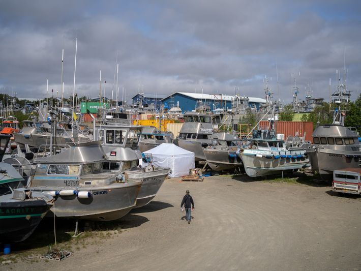 The LFS boatyard in Naknek in June. Last year, fishermen had to call local stores for ...