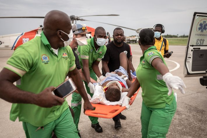 A child who was airlifted from the Haitian city of Jeremie by the U.S. Coast Guard ...