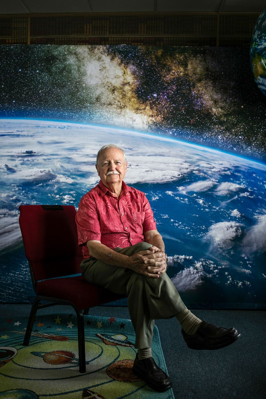 Charlie Mars, the chairman of the board of the American Space Museum in Titusville, sits for ...