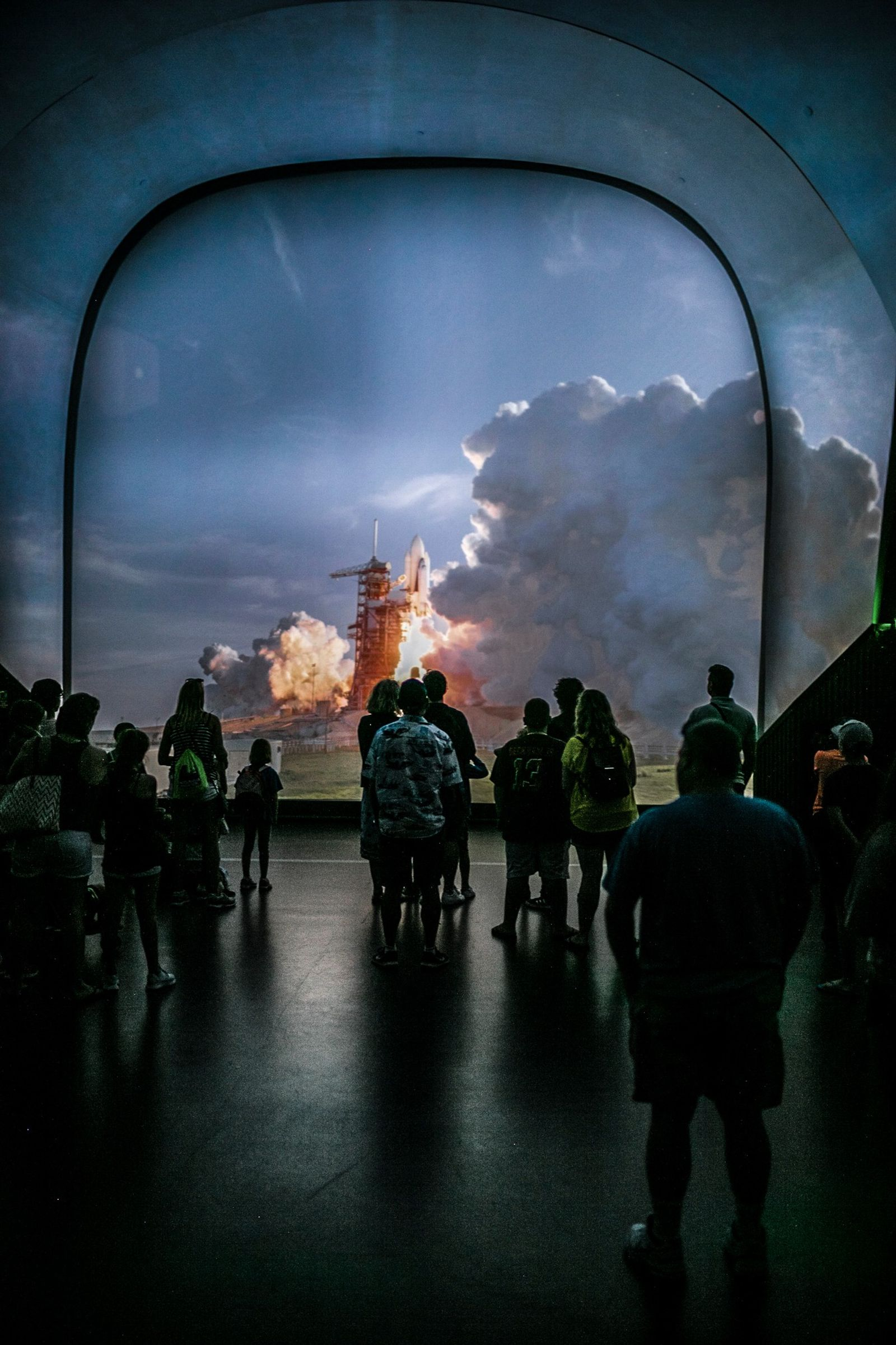 At the Atlantis exhibit inside the Visitor Complex at Kennedy Space Centre in Cape Canaveral, people ...