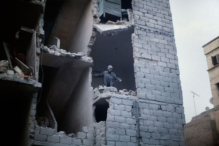 Aftermath of a barrel bomb in a residential area of Aleppo. Aleppo, Syria. March, 2013.
