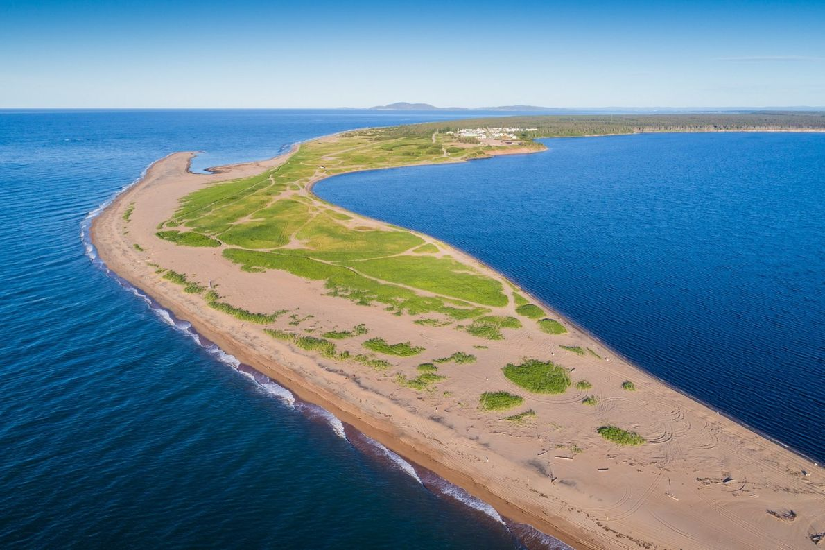A bird's-eye view of a sandbank at the mouth of the Moisie River near Sept-Iles.