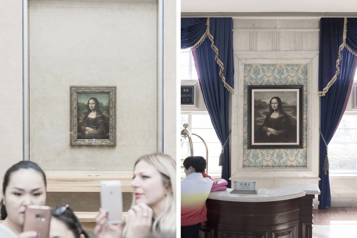 Replicas of the iconic Mona Lisa housed in Paris's Louvre (left) can be found worldwide, including ...