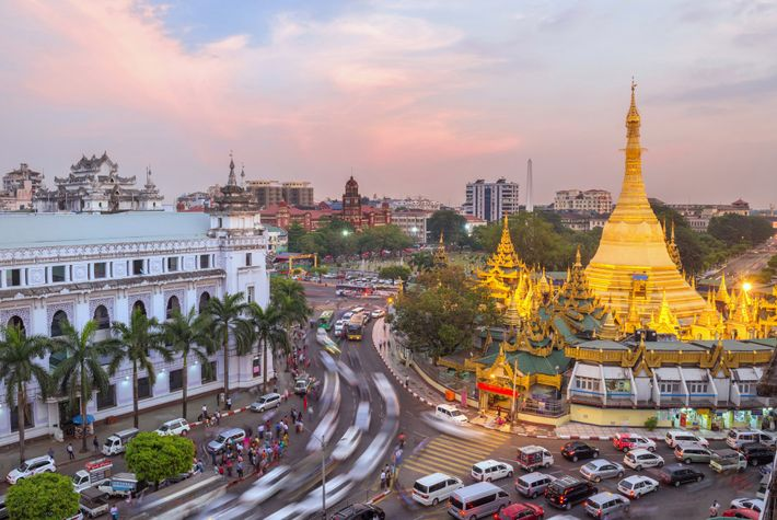 The Sule Pagoda glows in center of downtown Yangon, Myanmar.