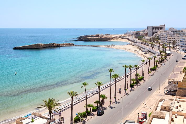 The Mediterranean coast at Monastir, Tunisia