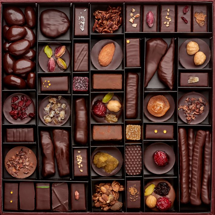 A box of Laurent Gerbaud's chocolate confections.