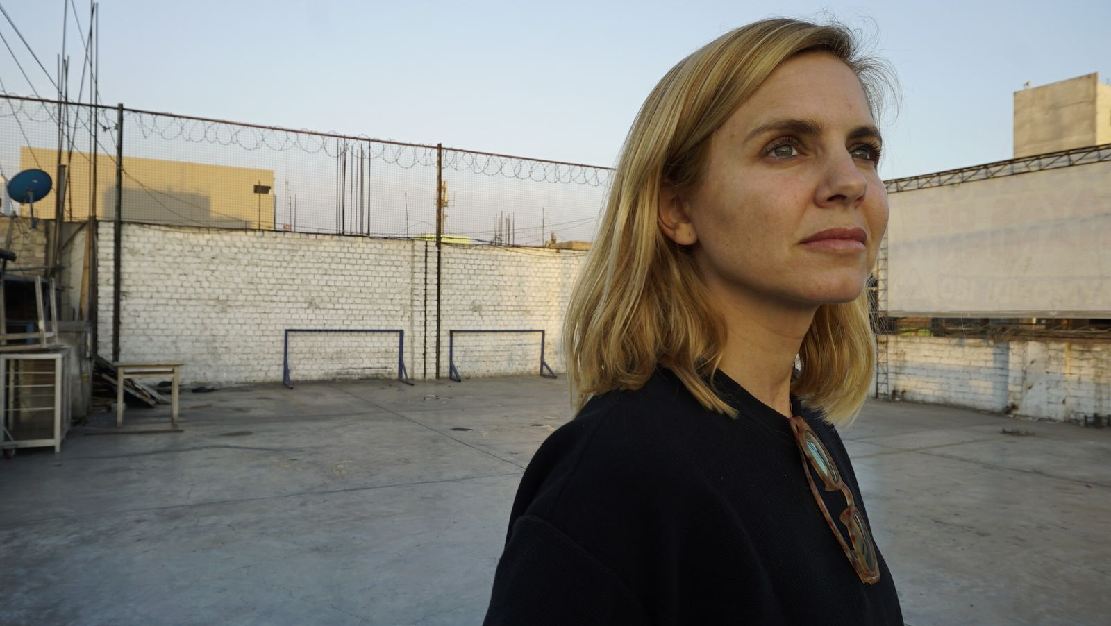Mariana Van Zeller inside the walls of Peru's Lurigancho prison, where she interviewed a currency counterfeiter.