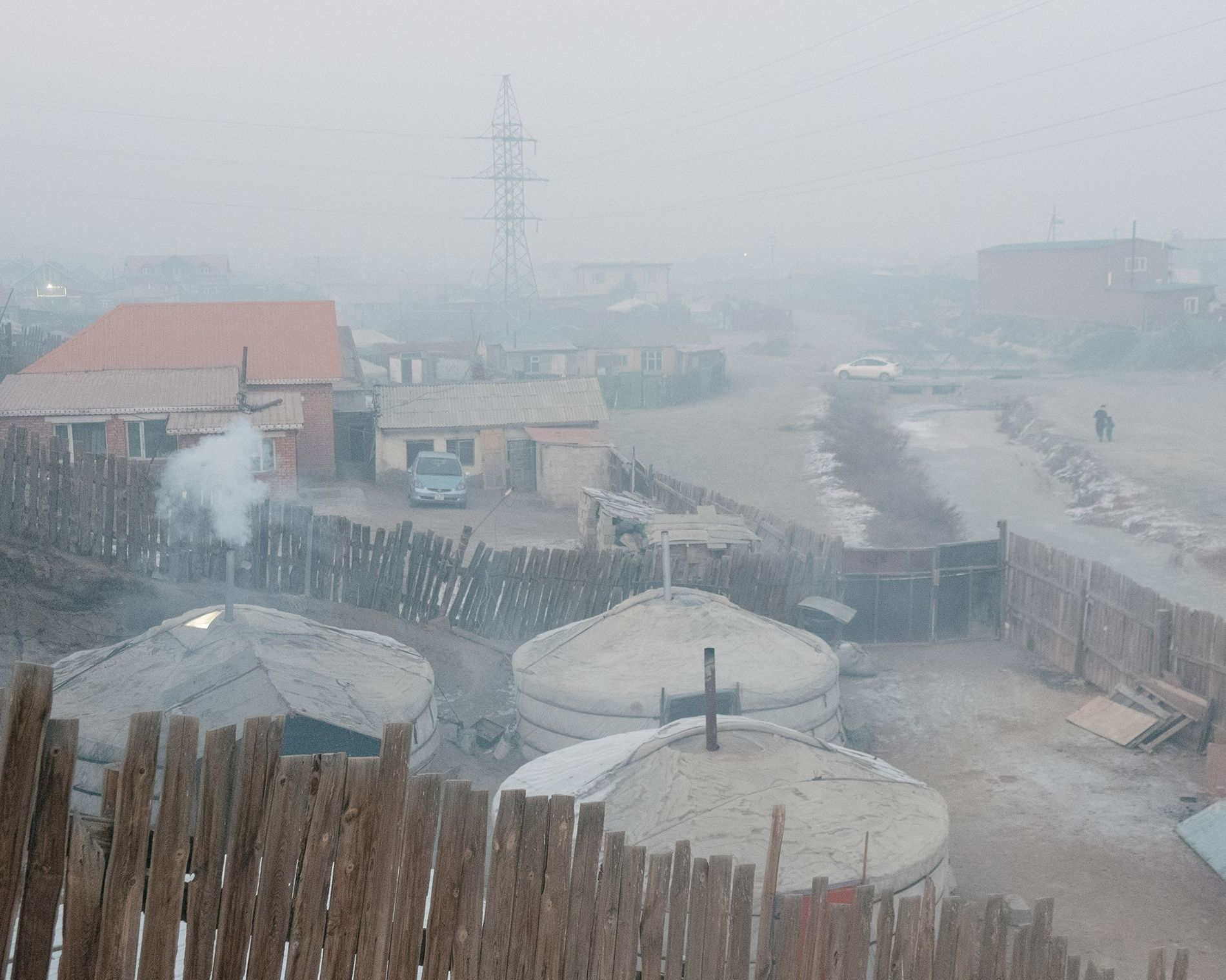 The evening air is thick over Bayankhoshuu, one of the city's most heavily polluted neighborhoods.