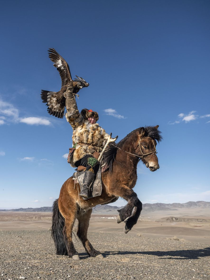 A young eagle hunter