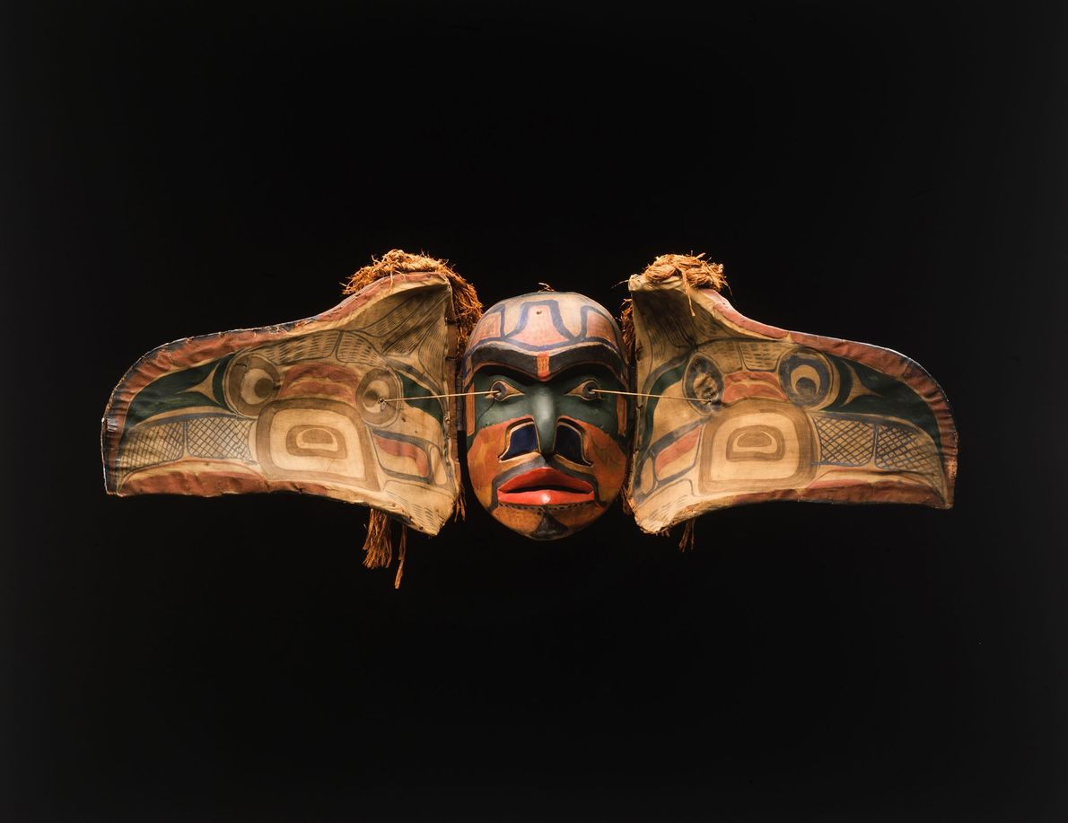 Transformation masks worn by the Kwakwaka'wakw people of British Columbia during potlatch ceremonies often represent the ...
