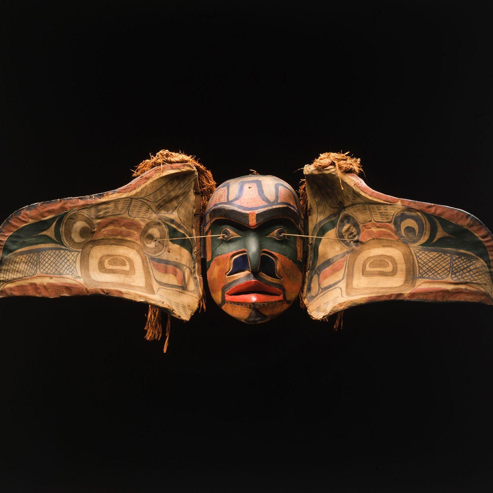 Transformation masks worn by the Kwakwaka'wakw people of British Columbia during potlatch ceremonies often represent the ...