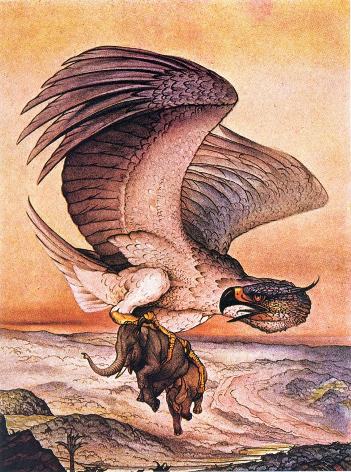 In the Arabic legend of Sinbad the Sailor, a bird called the Roc plucks an elephant ...