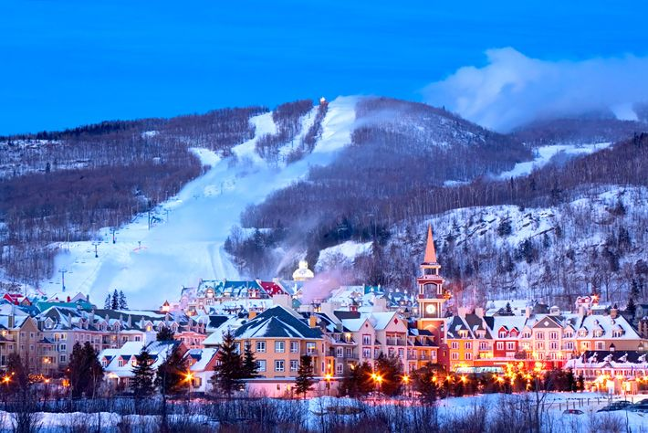 Streetlights shine from the ski resort in Mont Tremblant in Quebec, Canada.