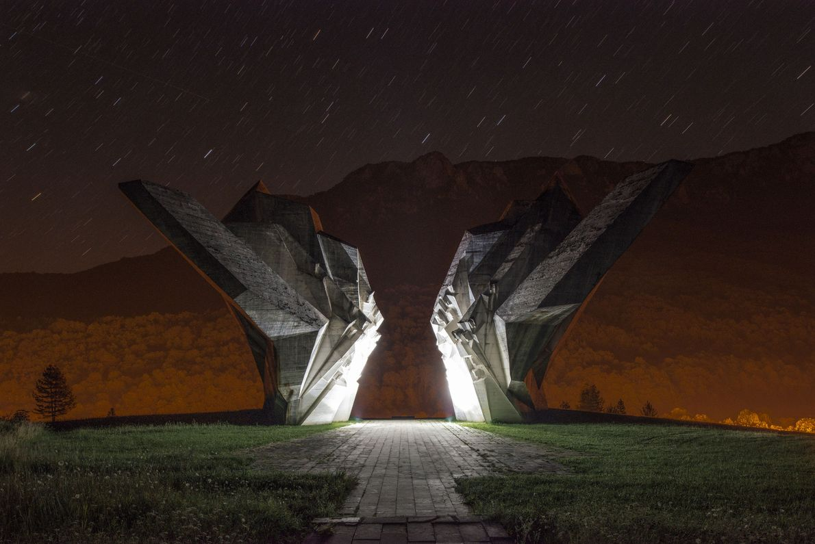 This monument for the victims of the Battle of the Sutjeska in Bosnia and Herzegovina took ...