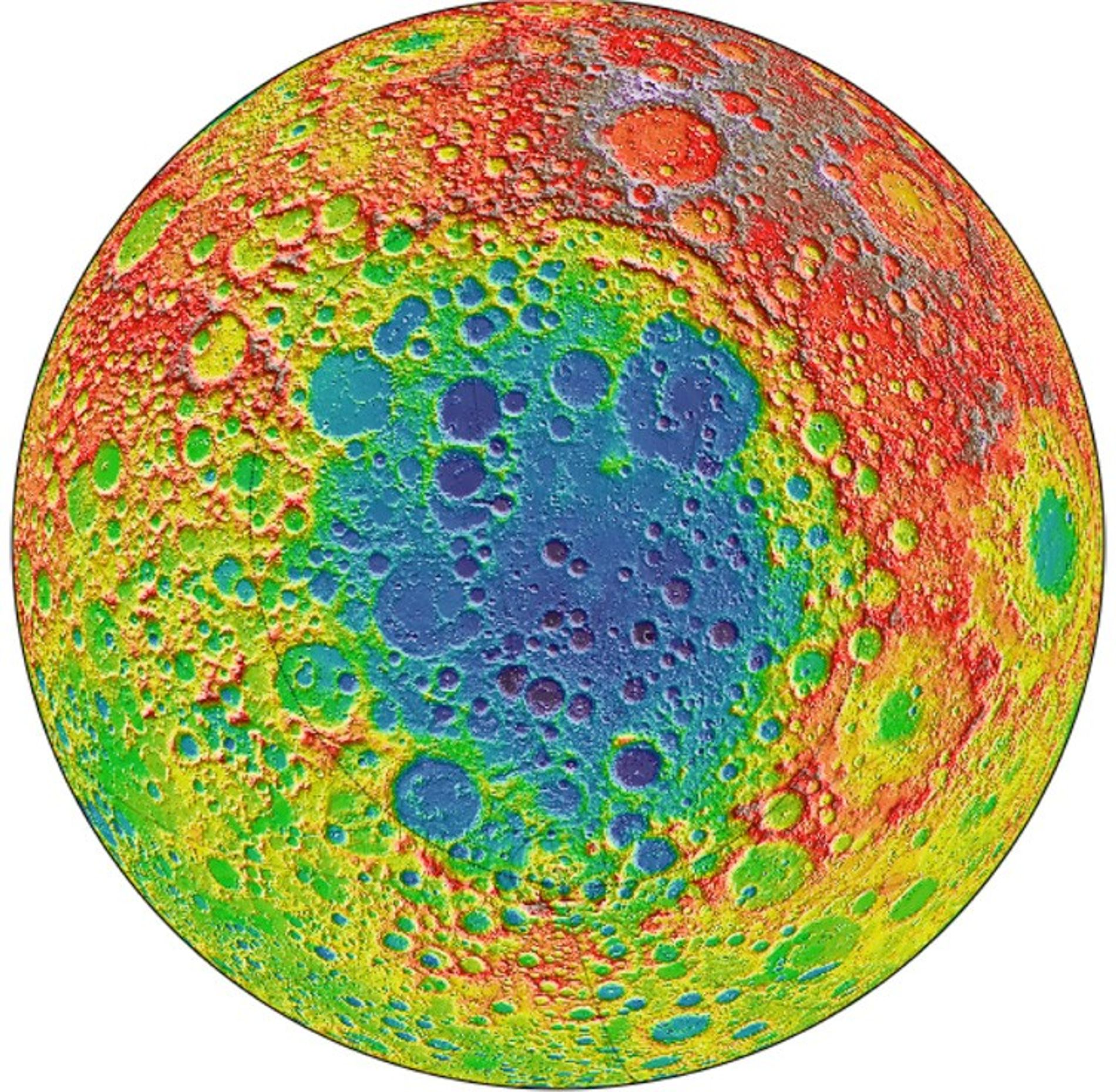 This image from NASA's Lunar Reconnaissance Orbiter centers on the South Pole-Aitken basin, the largest impact basin on the moon and one of the largest in the solar system. The distance from its depths to the tops of the highest surrounding peaks is nearly 10 miles.