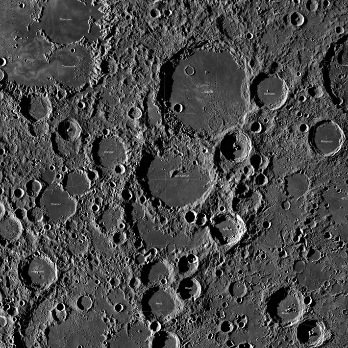 A picture taken from orbit shows craters around the Chang'e-4 landing site near the lunar south ...