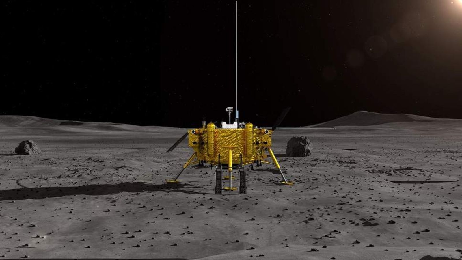 This artist's impression from the China National Space Administration (CNSA) depicts China's Chang'e-4 lunar probe. The ...