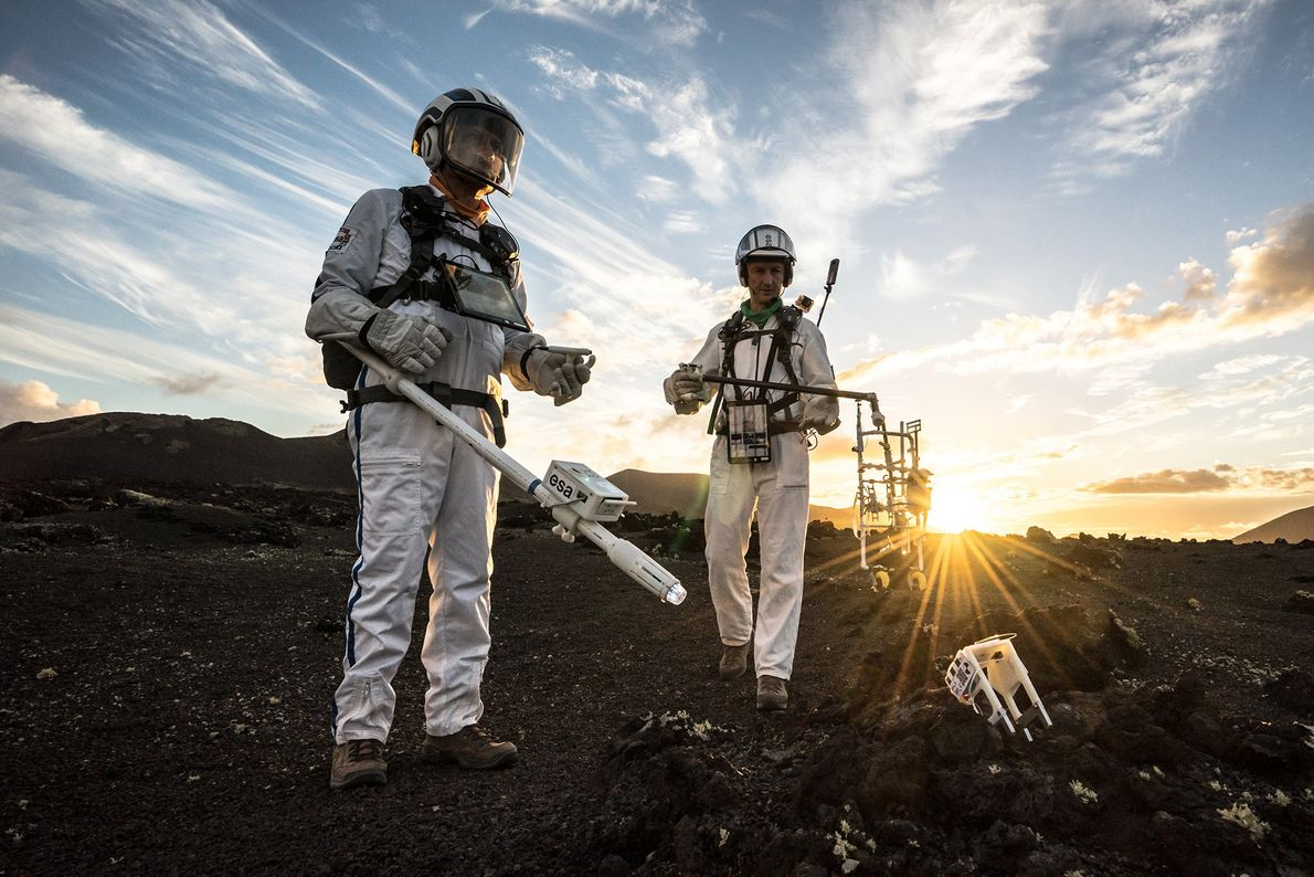 The Pangaea-X crew explores the barren, dry landscape of Lanzarote in the Canary Islands in a ...