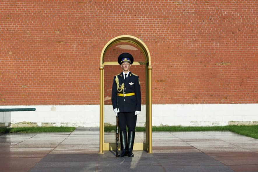 A sentry at the Tomb of the Unknown Soldier in Alexandrovsky Garden. Image: Getty