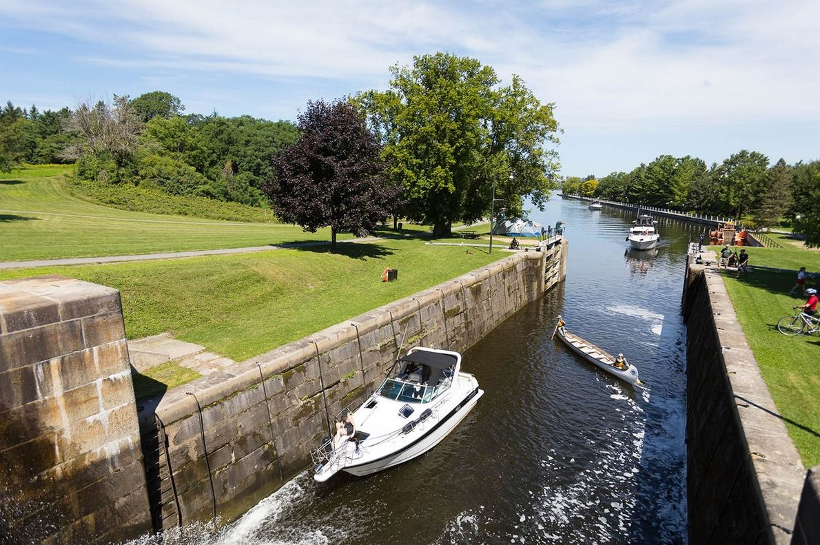 You can paddle or motor through the Rideau Canal National Historic Site's lock system.