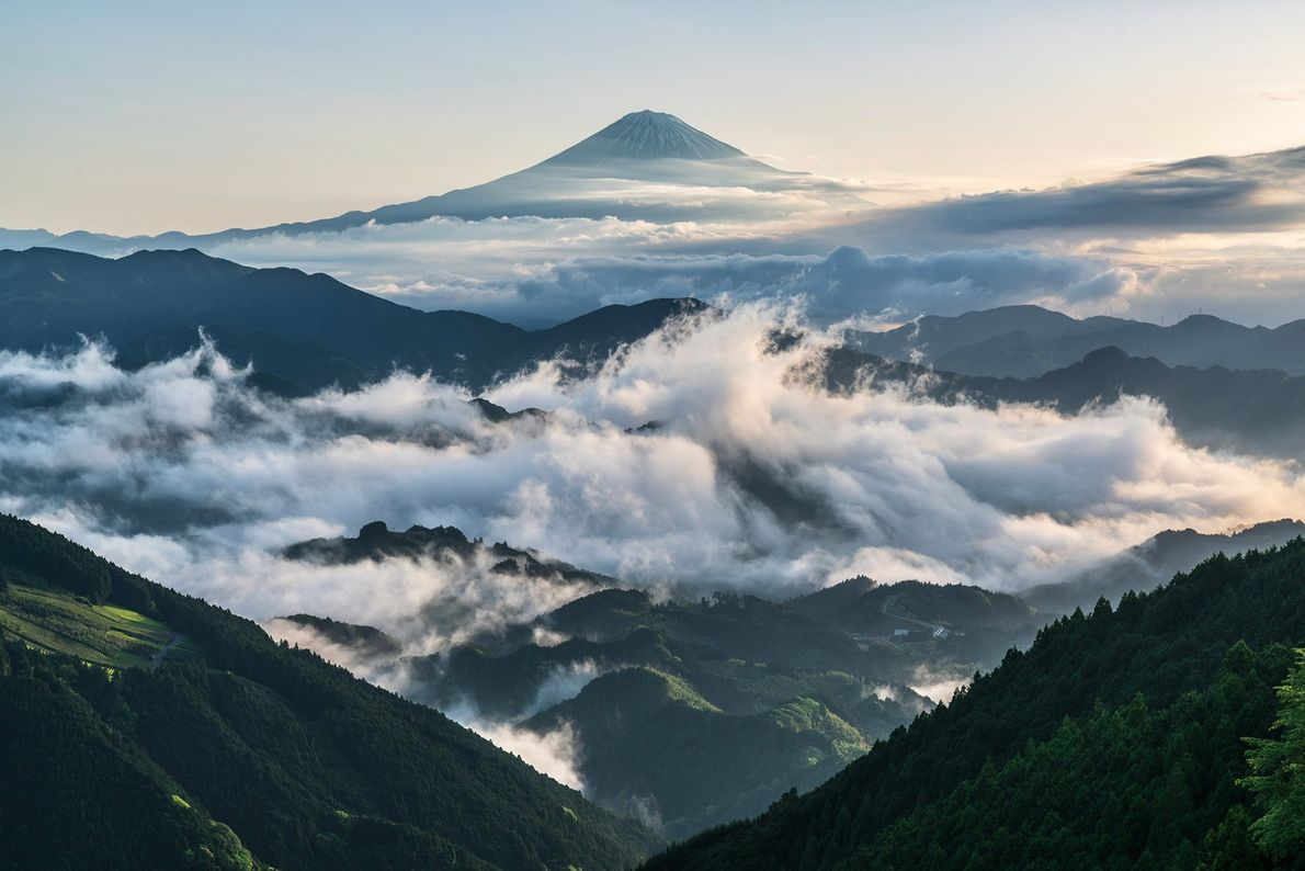 "Mount Fuji, Japan in a ""Sea of cloud that looks like a wave."""
