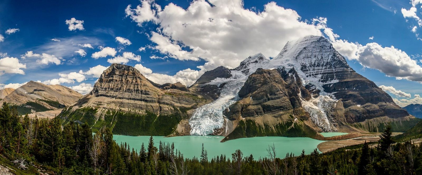A typical scene from the window of the train when crossing Canada. Mount Robson Provincial Park, ...