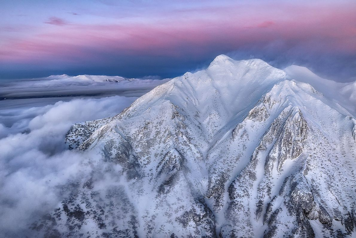 """Mt. Sharidake [in Japan] is called Onne Nupuri in Ainu language. This is a helicopter shot ..."