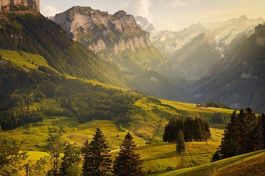 """A breathtaking mountain view of Switzerland's Alpine range."""