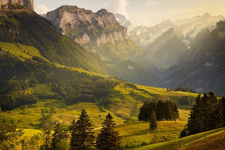 """A breathtaking mountain view of Switzerland's Alpine range."""