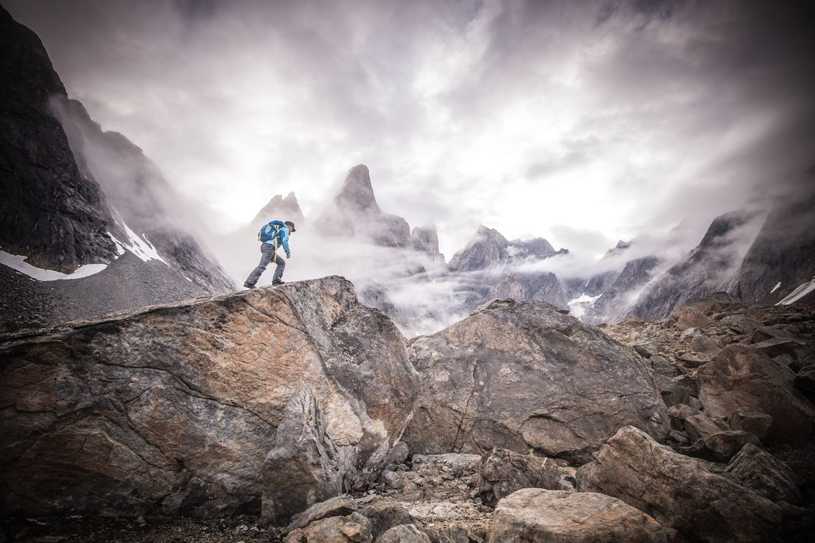 In southeastern Greenland Libecki scales the rocky terrain Eastern Greenland has some of the island's tallest ...